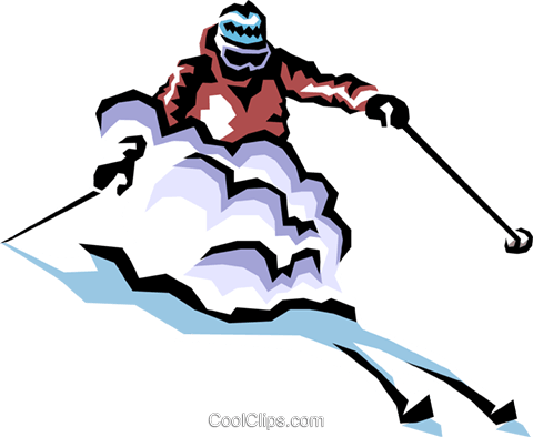 Skier Royalty Free Vector Clip Art illustration peop1344