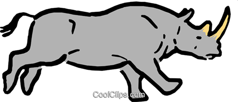Cartoon Rhinoceros Royalty Free Vector Clip Art illustration anim0533