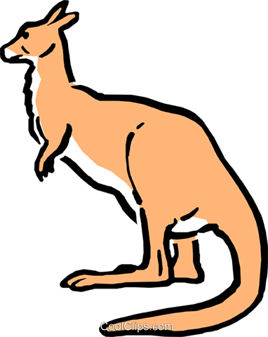 Cartoon kangaroo Royalty Free Vector Clip Art illustration anim0544