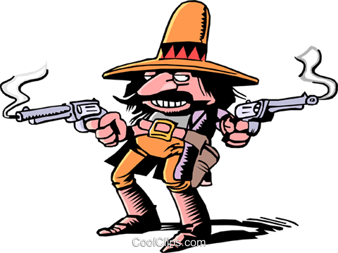 Cartoon gunslinger Royalty Free Vector Clip Art illustration cart0054