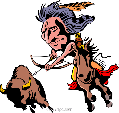 Cartoon Indian on horseback Royalty Free Vector Clip Art illustration cart0061