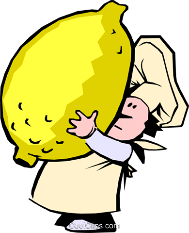 Cartoon chef with lemon Royalty Free Vector Clip Art illustration cart0077