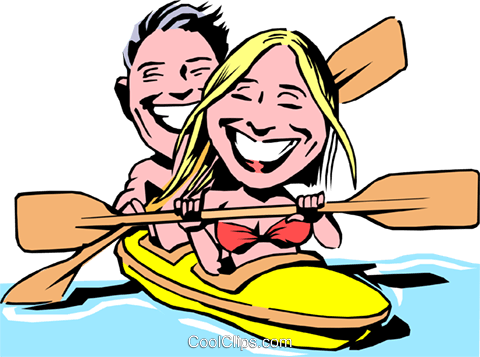 Cartoon kayaking Royalty Free Vector Clip Art illustration cart0094
