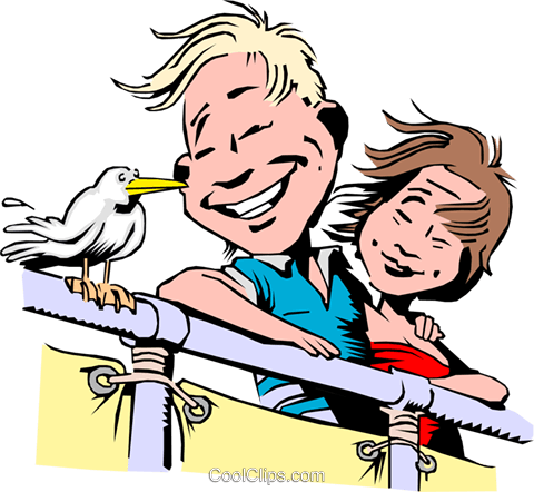 Cartoon couple on vacation Royalty Free Vector Clip Art illustration cart0105