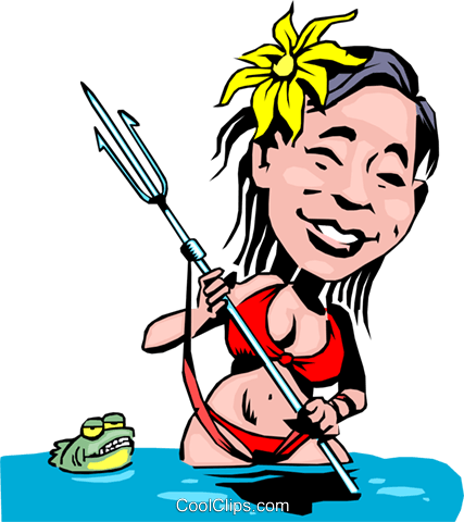 Cartoon native spear fisher Royalty Free Vector Clip Art illustration cart0114