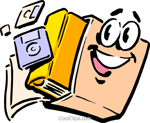 Fun briefcase with book and diskettes Royalty Free Vector Clip Art illustration cart0147