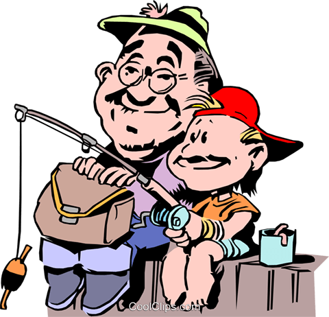 Father and son fishing from dock Royalty Free Vector Clip Art illustration cart0160