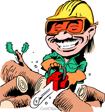 Cartoon woodcutter Royalty Free Vector Clip Art illustration cart0166