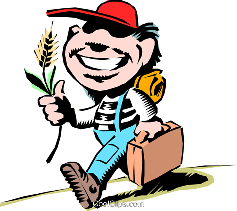 Cartoon hayseed kid Royalty Free Vector Clip Art illustration cart0178