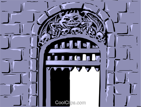 Cartoon castle gate Royalty Free Vector Clip Art illustration even0107