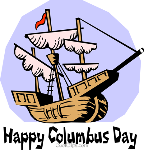 Happy Columbus Day! Royalty Free Vector Clip Art illustration even0411