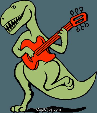 Dinosaur Playing The Guitar Royalty Free Vector Clip Art Illustration