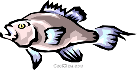 Bass fish Royalty Free Vector Clip Art illustration anim0407