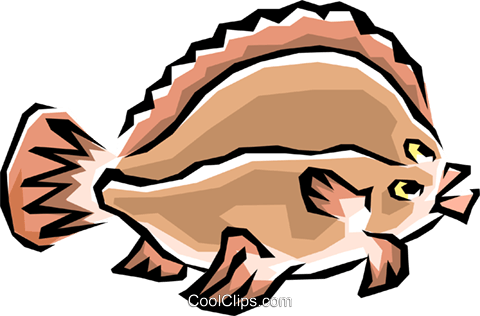 Flounder fish Royalty Free Vector Clip Art illustration anim0415