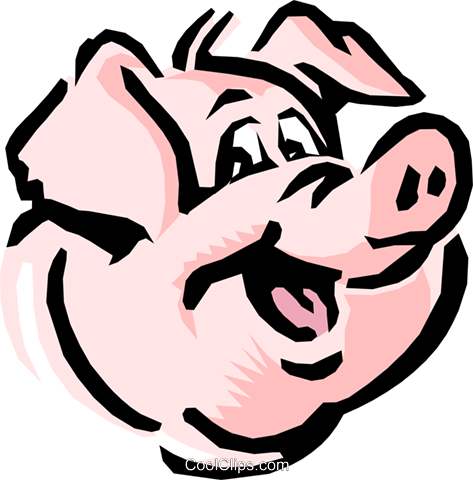Cartoon pig Royalty Free Vector Clip Art illustration anim0555