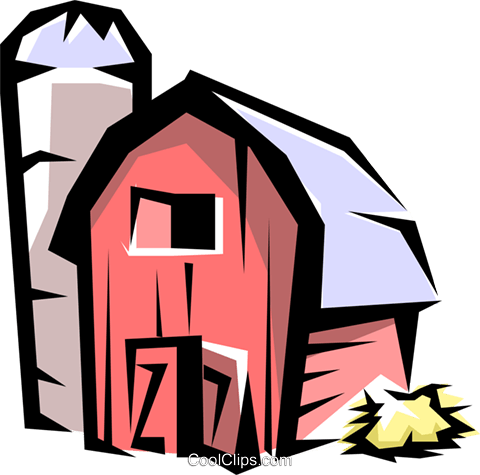 Barn and silo Royalty Free Vector Clip Art illustration arch0111