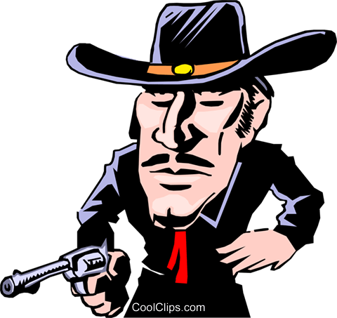 Cartoon gunslinger Royalty Free Vector Clip Art illustration cart0207