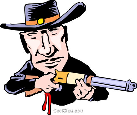 Cartoon gunslinger Royalty Free Vector Clip Art illustration cart0208