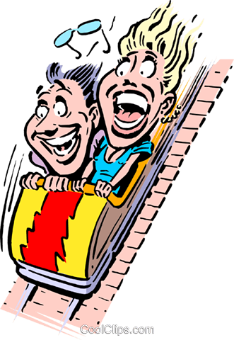 Cartoon roller coaster Royalty Free Vector Clip Art illustration cart0225