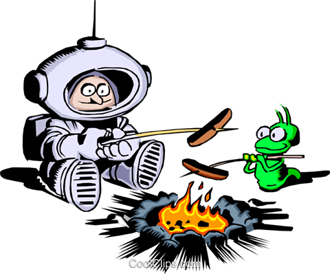 Cartoon spaceman roasting hot dogs Royalty Free Vector Clip Art illustration cart0232