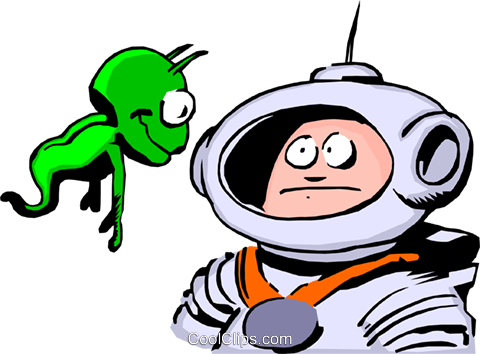 Cartoon spacemen Royalty Free Vector Clip Art illustration cart0240