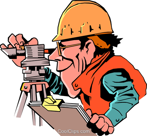 Cartoon surveyor Royalty Free Vector Clip Art illustration cart0249