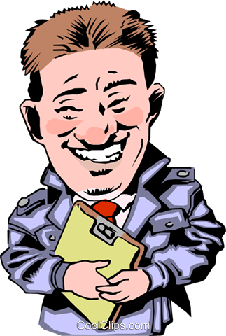 Car salesman with clipboard Royalty Free Vector Clip Art illustration cart0258
