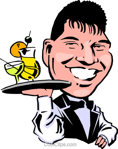 Cartoon waiter Royalty Free Vector Clip Art illustration cart0267
