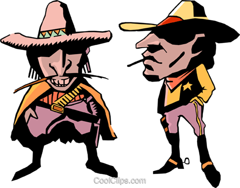 Cartoon cowboys Royalty Free Vector Clip Art illustration cart0270