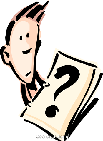 Cartoon man with question mark Royalty Free Vector Clip Art illustration cart0788