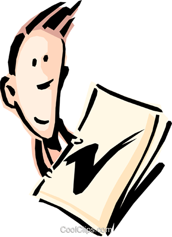 Cartoon man with a check mark Royalty Free Vector Clip Art illustration cart0791