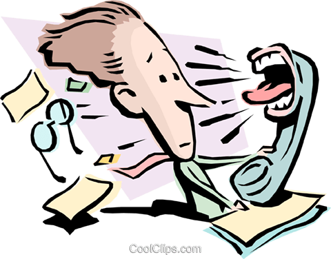 Cartoon man with screaming telephone Royalty Free Vector Clip Art illustration cart0795