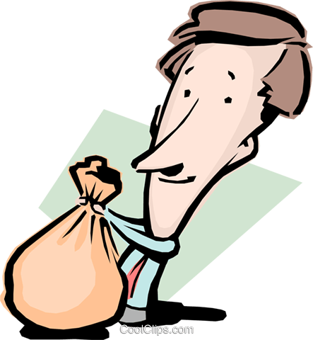 Cartoon man with moneybags Royalty Free Vector Clip Art illustration cart0798