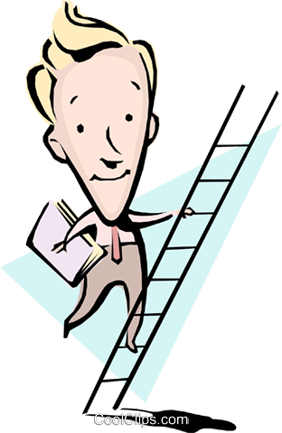 Cartoon man climbing ladder Royalty Free Vector Clip Art illustration cart0800