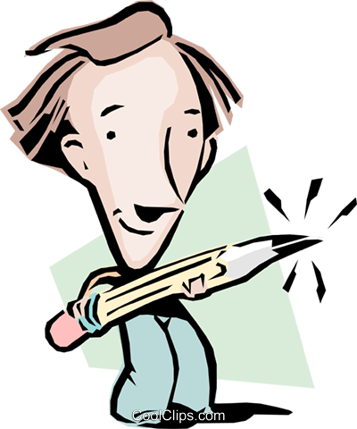 Cartoon man with a pencil Royalty Free Vector Clip Art illustration cart0807