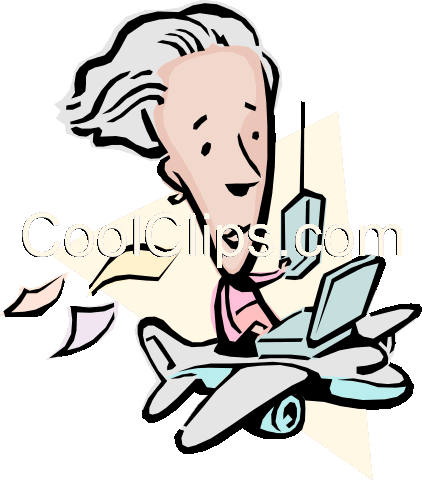 Cartoon lady traveling in an airplane Royalty Free Vector Clip Art illustration cart0809