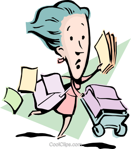 Cartoon lady running with papers Royalty Free Vector Clip Art illustration cart0817