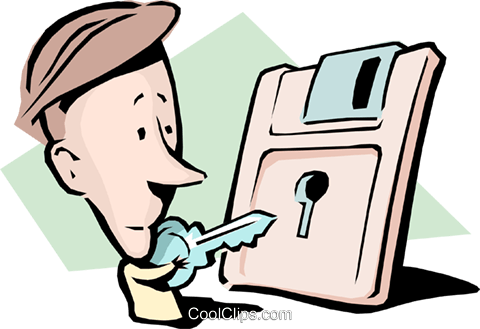Cartoon man with key and diskette Royalty Free Vector Clip Art illustration cart0825