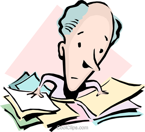 Cartoon man with paperwork Royalty Free Vector Clip Art illustration cart0826