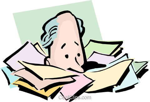 Cartoon man with paperwork Royalty Free Vector Clip Art illustration cart0827