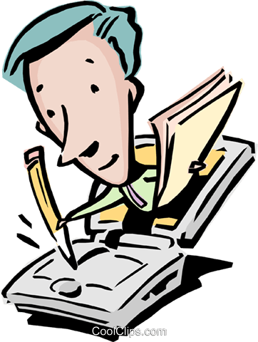 man with pencil, papers, & computer Royalty Free Vector Clip Art illustration cart0835