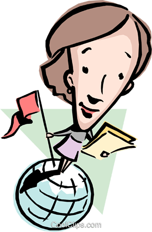 Cartoon lady on globe Royalty Free Vector Clip Art illustration cart0836