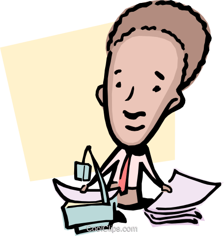 Cartoon man with overhead and papers Royalty Free Vector Clip Art illustration cart0838