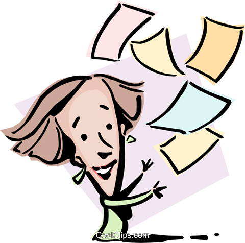 Cartoon lady with papers Royalty Free Vector Clip Art illustration cart0840