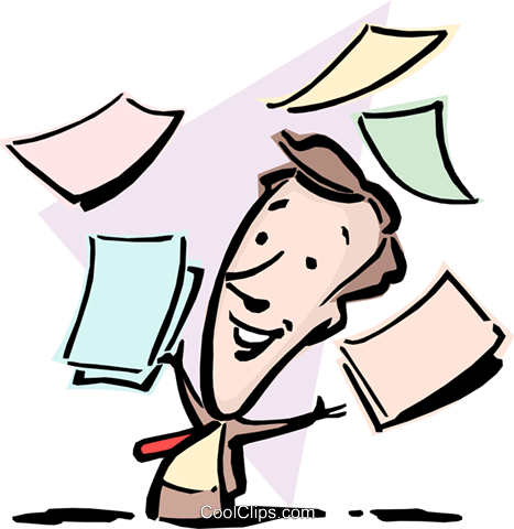Cartoon man with papers Royalty Free Vector Clip Art illustration cart0841
