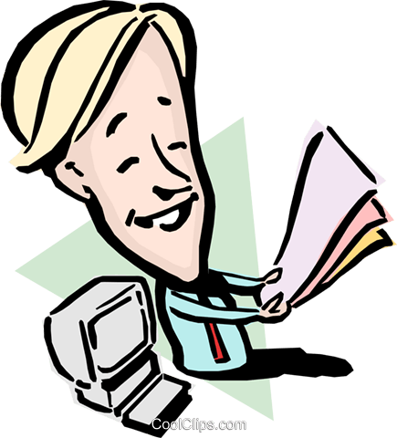 Cartoon man with paperwork Royalty Free Vector Clip Art illustration cart0844