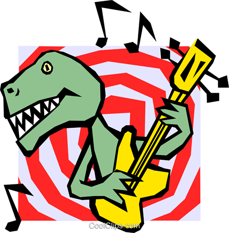Dinosaur playing guitar Royalty Free Vector Clip Art illustration even0428