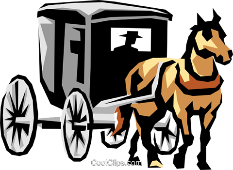 Horse drawn carriage Royalty Free Vector Clip Art illustration tran0405