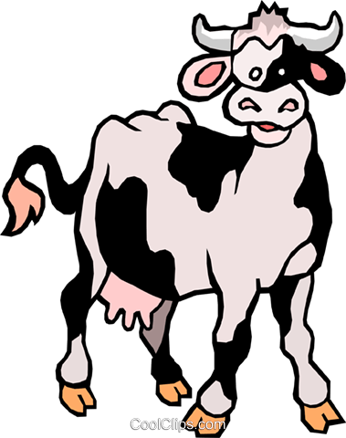 Cartoon cow Royalty Free Vector Clip Art illustration anim0988