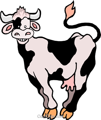Cartoon cow Royalty Free Vector Clip Art illustration anim0990
